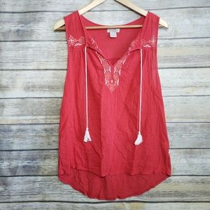 Lucky Brand Orange Embroidered White Boho Tank